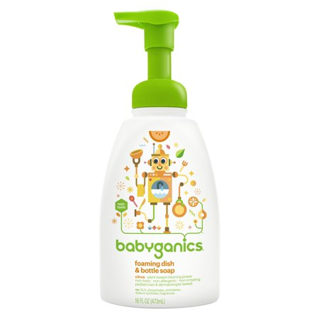 White 16 Oz Round Dish - Babyganics Foaming Dish & Bottle Soap, Citrus, 16 Fl Oz