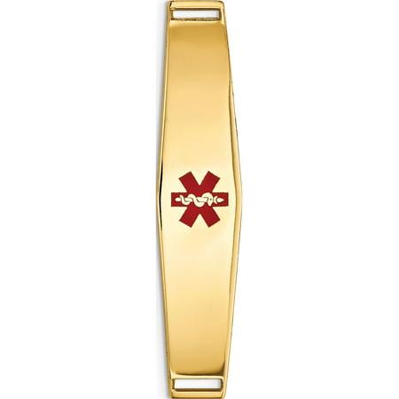 14k Yellow Gold Epoxy Enameled Medical ID Ctr Soft Diamond Shape Plate # 818 - image 2 of 2
