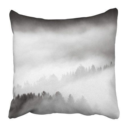 BOSDECO White Mist Dawn Fog in The Mountains Black Misty Forest Pine Divine Light Smoke Pillowcase Pillow Cover 16x16 inch - image 1 of 1
