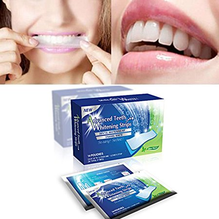 Sparkling White Smiles Advanced Teeth Whitening Strips 28 Count(14 Upper and 14 Lower Strips) Compare to Major Brands and - Dental Whitening Formula 40 Strips