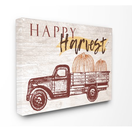 The Stupell Home Decor Collection Happy Harvest Giant Pumpkin Truck Oversized Stretched Canvas Wall Art, 24 x 1.5 x 30 (Pumpkin Art)