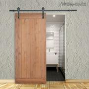TMS 36 in. x 84 in. Vertical Slat Primed Wood Finish Sliding Barn Door with Sliding Door Hardware Kit TSQ04-Dark