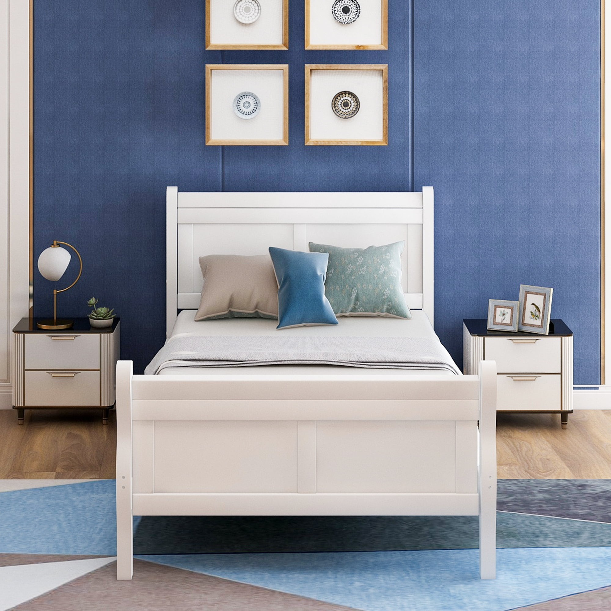 Urhomepro Twin Bed Frame With Headboard Footboard Wood Twin Platform Bed Frame W Strong Wooden Slat No Box Spring Needed For Boys Girls Kids Teens Adults Bedroom Furniture White W9790 Walmart Com Walmart Com