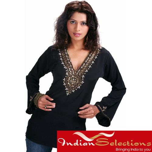 Black Long Sleeve Kurti/Tunic with Designer Bead Work (India) Large...Chest 42 inches