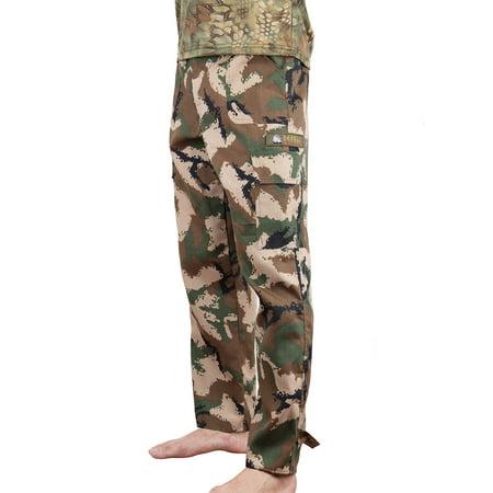Mens Fatigue Pants - Men Zip Off Cargo Pants BDU Army Fatigues Trouser Woodland Camo Ripstop Joggers Pant