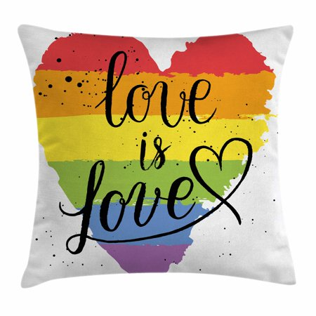 Pride Decorations Throw Pillow Cushion Cover, LGBT Gay Lesbian Parade Love is Love Hand Writing Paint Strokes Artistic, Decorative Square Accent Pillow Case, 16 X 16 Inches, Multicolor, by Ambesonne](Parade Decorations)