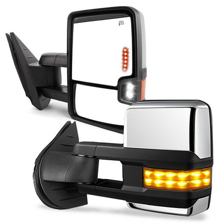 Towing Mirrors for 07-13 Chevy Silverado GMC Sierra Truck Chrome Cover Power Heated Tow Signal + Arrow + Clearance Lamps Side Mirrors Chevy Silverado Towing Mirrors