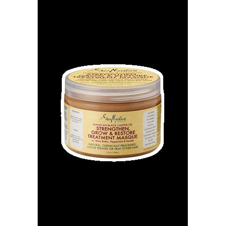 Shea Moisture Jamaican Black Castor Oil 13 oz. Strengthen, Grow & Restore Treatment Masque w/ Shea Butter, Peppermint & Keratin 12 oz. - Value Double Pack qty of 2 (Black Treatment)