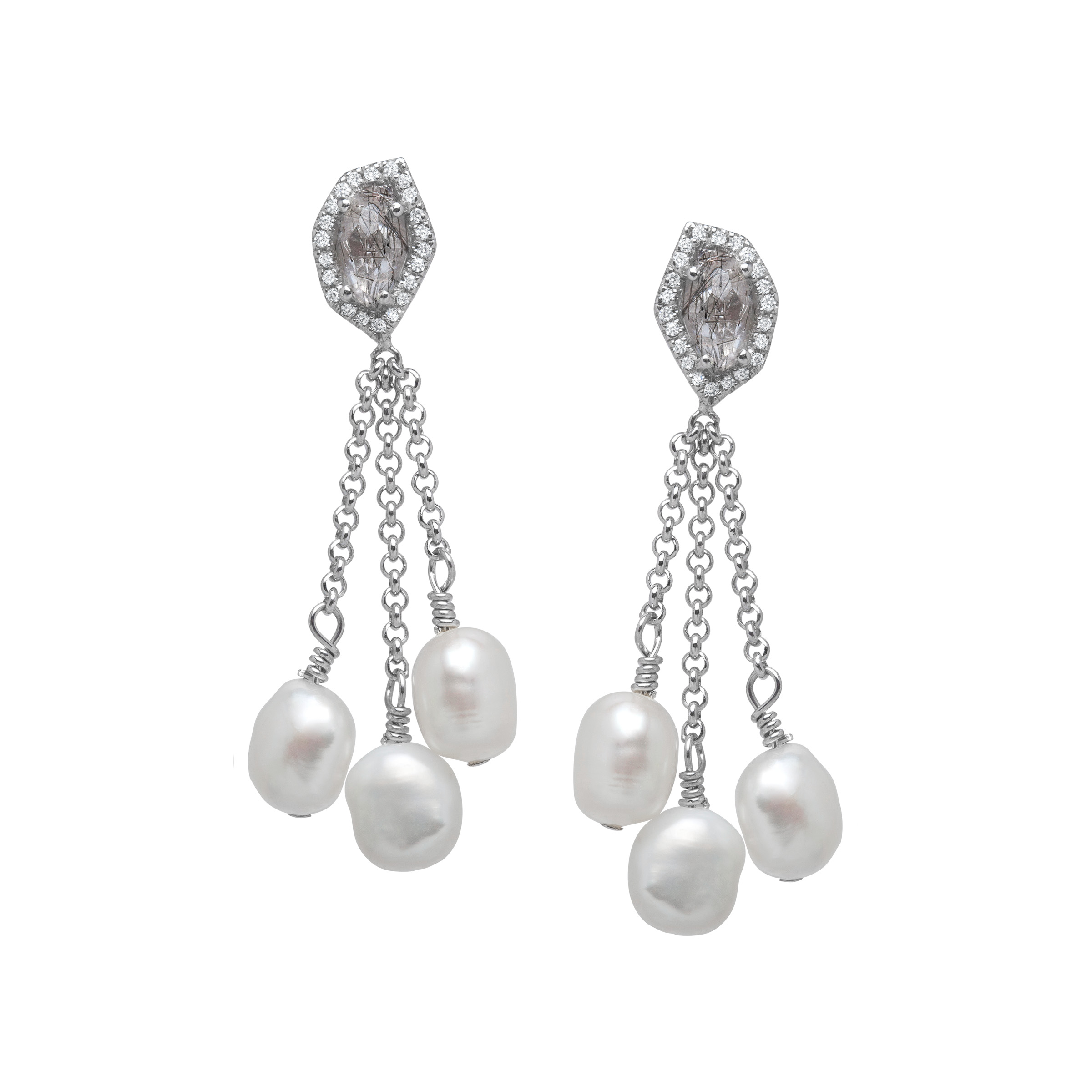 7/8 ct Quartz and 1/8 ct Diamond Drop Earrings with Freshwater Cultured Pearls in Sterling Silver