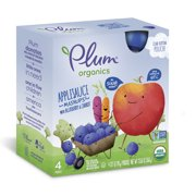 Plum Organics Blueberry Blitz! Organic Apple Sauce & Fruit & Veggie Mashups, 3.17 oz, 4 ct