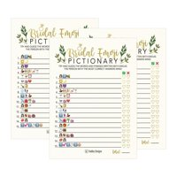 25 Floral Emoji Pictionary Bridal Shower Games Ideas, Wedding Shower, Bachelorette or Engagement Party For Men and Women Couples, Cute Funny Kit Bundle Set, Coed Adult Game Cards For Bride to be Party