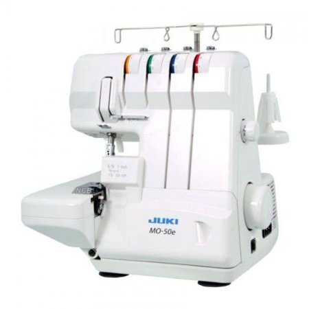 juki, mo-50e, 3 or 4 thread serger, lay in tensions, adjustable differential feed, built in rolled hem, automatic lower looper threader, retractable upper knife ()