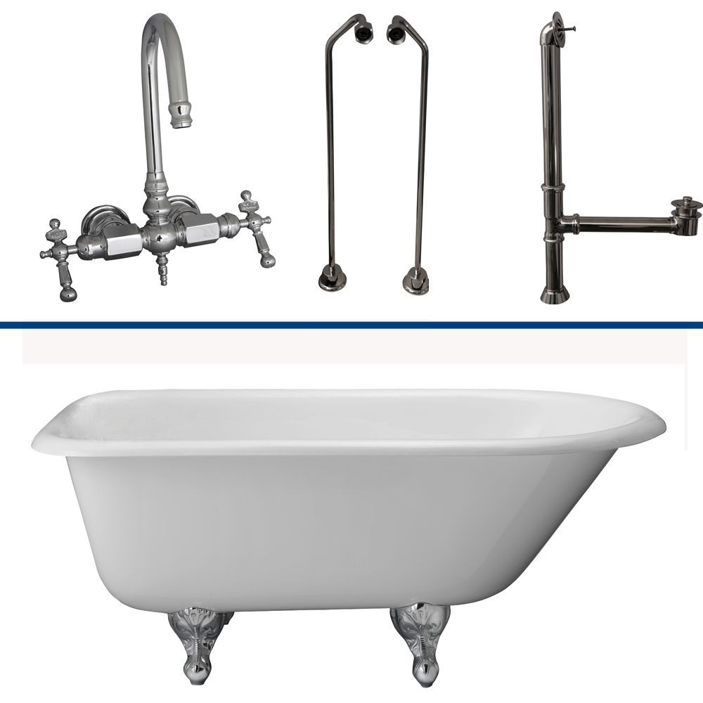 "Barclay TKCTR60-CP10 Tub Kit 60"" CI Roll Top, Tub Filler, Supplies, Drain-Chrom"