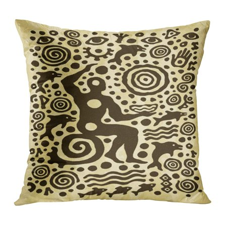 ECCOT Aboriginal Ethnic Tribal Native Prehistoric Shaman Dolphin Age Aged Ancient Archeology Pillowcase Pillow Cover Cushion Case 18x18 inch