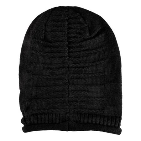 3b12c50609 Zodaca - Black Solid Color Unisex Knit Baggy Beanie Hat Winter Warm  Oversized Ski Cap - Walmart.com
