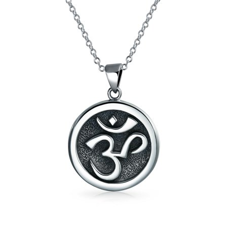 Aum Om Ohm Sanskrit Symbol Yoga Medallion Pendant For Women For Men Necklace Circle Disc Oxidized 925 Silver 18 Inch (Yoga Charms)