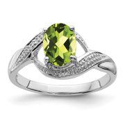 Roy Rose Jewelry Sterling Silver Peridot and Diamond Ring