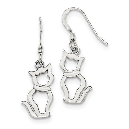 Shepherd Hook Earrings - Sterling Silver Polished Cat Shepherd Hook Earrings QE11947 (1.86 grams|35MM x 17MM)