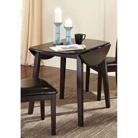 Ashley hammis round drop leaf dining table in dark brown for Meuble ashley circulaire