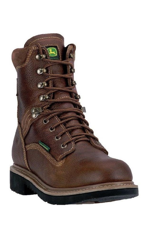 """John Deere Western Boots Mens 8"""" Lace Up Waterproof ST EH Brown JD8385 by John Deere"""