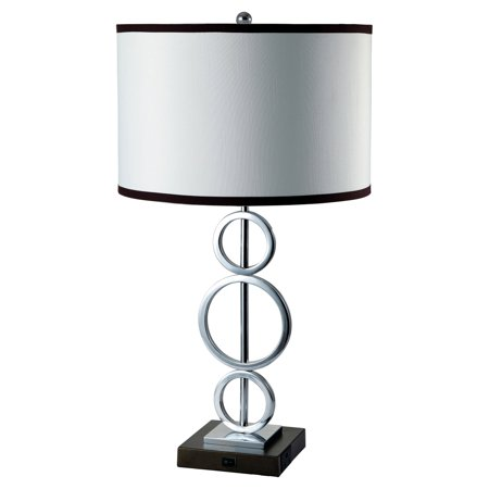 3-Ring Metal Table Lamp with Convenient Outlet, White