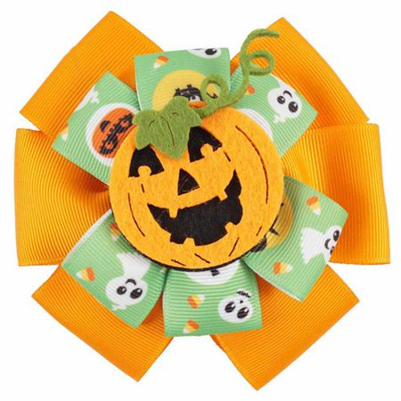 Halloween Hair Bow Ideas (KABOER Halloween Hair Accessories Hair Bow Clips Hairpin with Ghost Pumpkin Pattern for Girls Women Party Hairwear Trick or Treat)