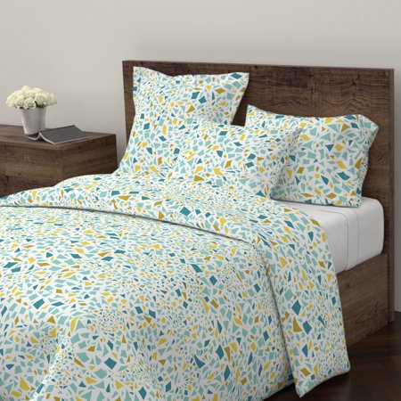 Mosaic Mosaic Aqua Teal Mustard White Abstract Sateen Duvet Cover by Roostery ()