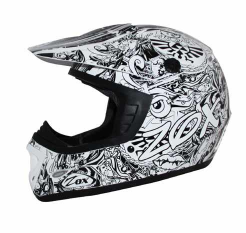 Zox Rush Sharpie Junior Youth MX Offroad Helmet White/Black