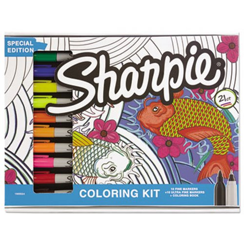 Sharpie Adult Coloring Kit, Aquatic Theme Coloring Book, 20 Markers -  Walmart.com - Walmart.com