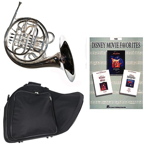 Band Directors Choice Silver Plated Double French Horn Key of F/Bb - Disney Movie Favorites Pack; Includes Intermediate French Horn, Case, Accessories & Disney Movie Favorites Book