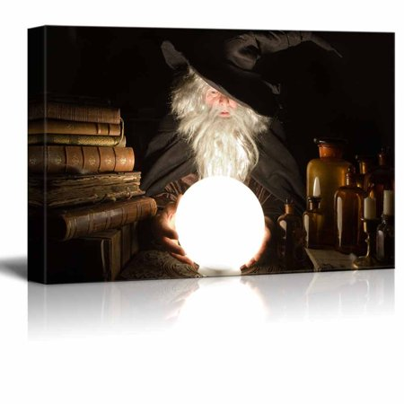 wall26 Canvas Prints Wall Art - Fortune Teller Looking into the Future at Halloween | Modern Wall Decor/Home Decoration Stretched Gallery Canvas Wrap Giclee Print. Ready to Hang - 32