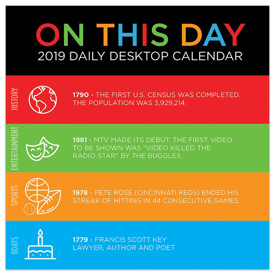 "2019 On This Day 5.5"" x 5.5"" January 2019-December 2019 Daily Desktop Calendar by TF Publishing"
