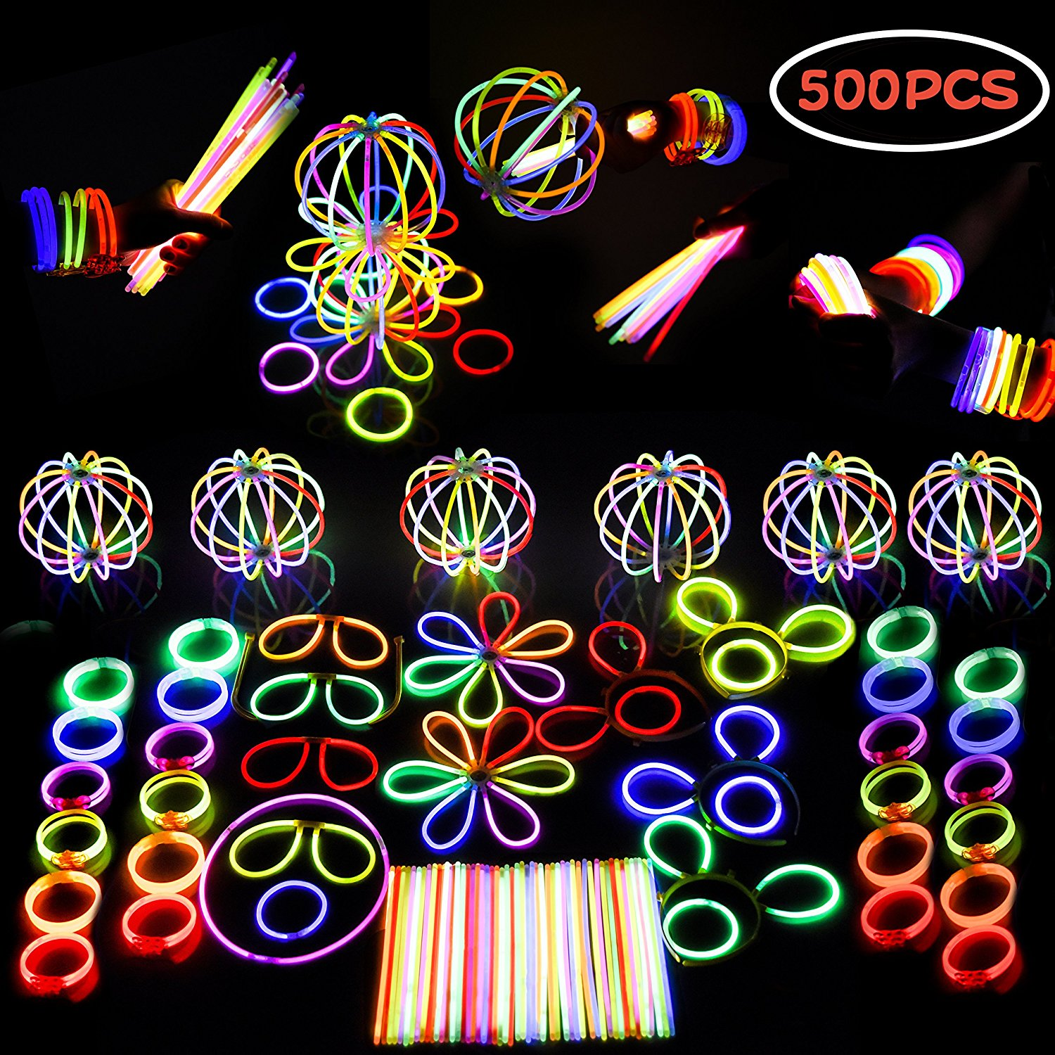 Glow Stick Party Favors Bulk LED Light Up Birthday Party Supplies Includes Glowsticks, Bracelets, Glasses, Butterfly Hair Clip Accessories, Hair Clasp Illuminate Party Kit F-120