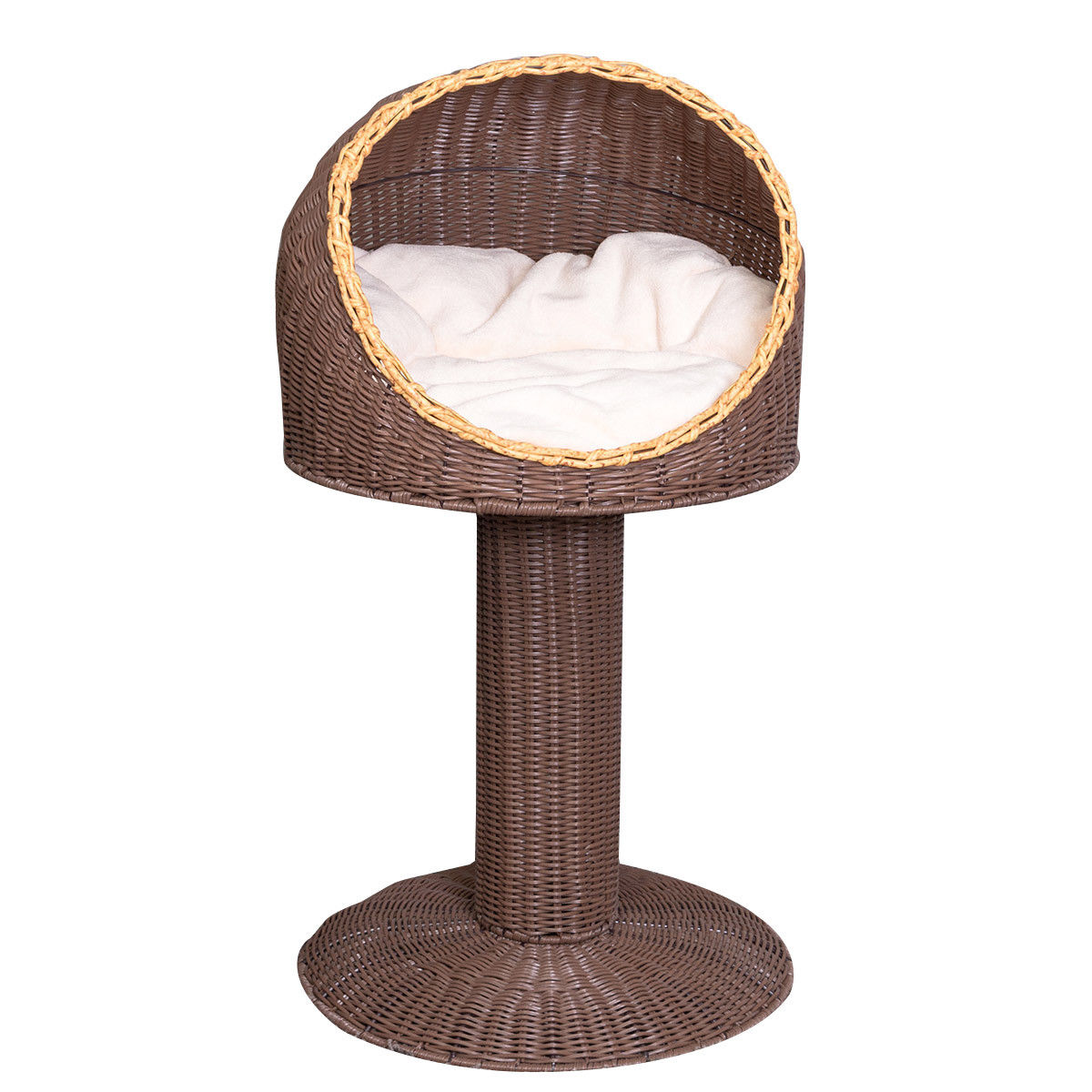 Gymax 17'' Cat Bed Home Ball Hooded Rattan Wicker Elevated Cat Kitten with Cushion