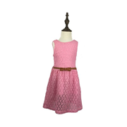 Girl Sleeveless Lace Dress Lace Skirt with belt, Pink 130