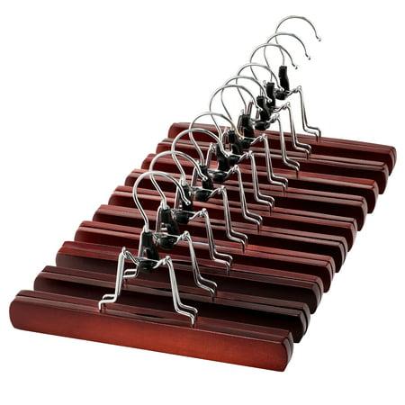 Wooden Skirt Hangers (High-Grade Wooden Pants Hangers with Clips 10 Pack Non Slip Skirt Hangers, Smooth Finish Solid Wood Jeans/Slack Hanger with 360° Swivel Hook - Pants Clip Hangers for Skirts, Slacks - Clamp Hangers )