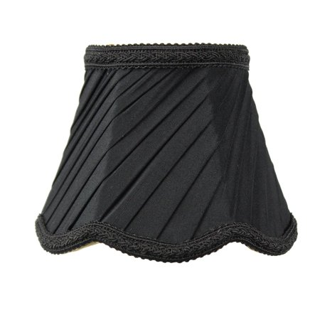 3x5x4 Pleated Scallop Clip-on Candelabra Lampshade Black (Fabric Candelabra)