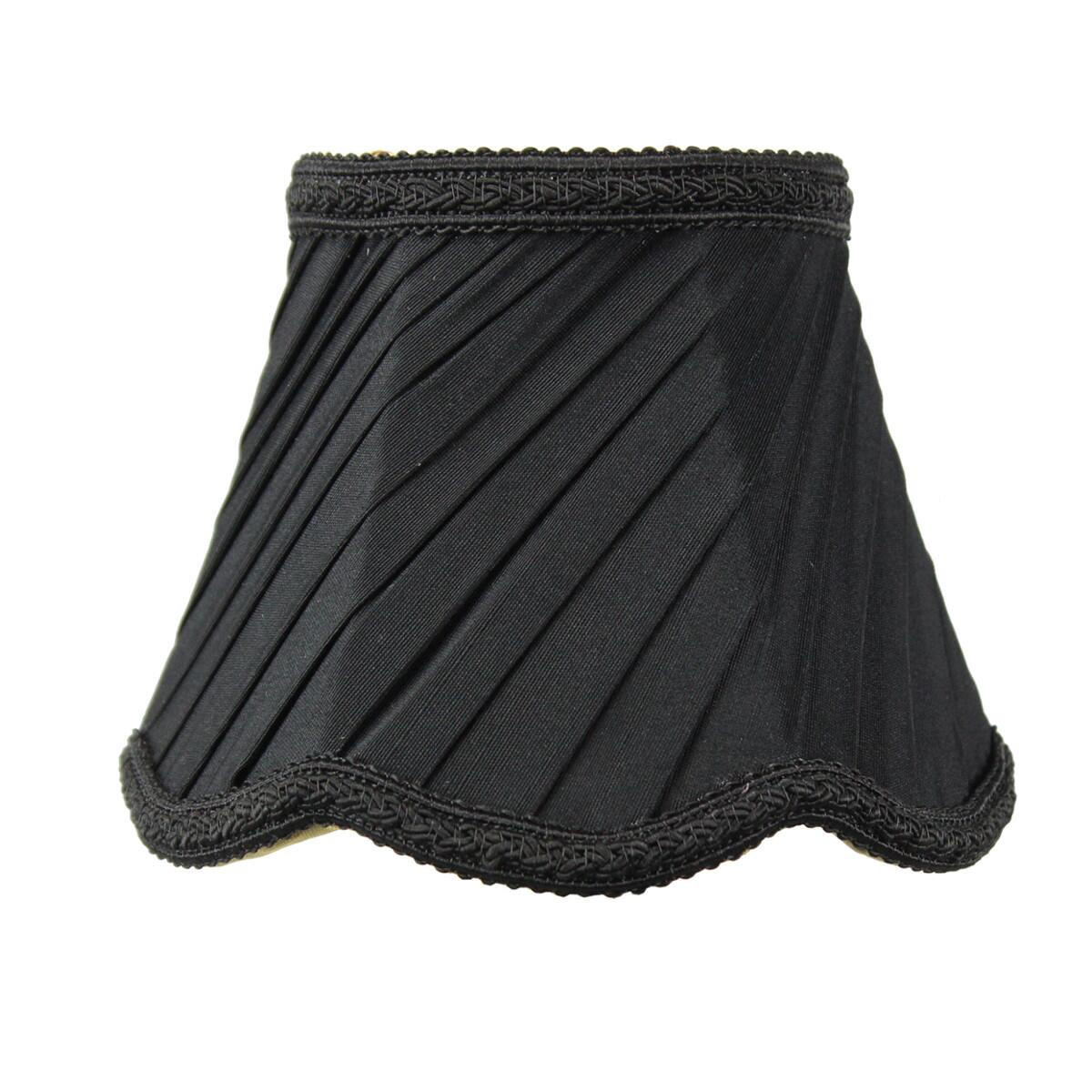 3x5x4 Pleated Scallop Clip-on Candelabra Lampshade Black Fabric