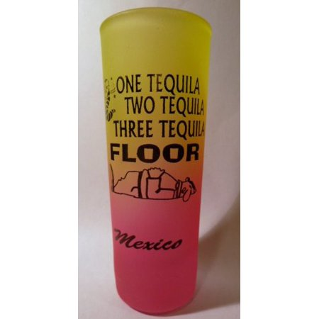 Mexico One Tequila Neon Yellow-Neon Pink Shooter Shot Glass
