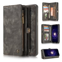 Samsung Galaxy S8 Plus Detachable Case, Dteck Multi-functional Handmade Premium Cowhide Leather Wallet Case Zipper Wallet 2 in 1 Removable Magnetic Back Cover For Samsung Galaxy S8+, Black