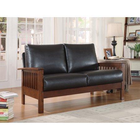 mission oak faux leather loveseat dark brown