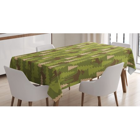 Deer Tablecloth, Animals in the Forrest Mooses and Pine Trees Pattern Canada Foliage Mammal Design, Rectangular Table Cover for Dining Room Kitchen, 60 X 84 Inches, Green Tan Brown, by Ambesonne for $<!---->