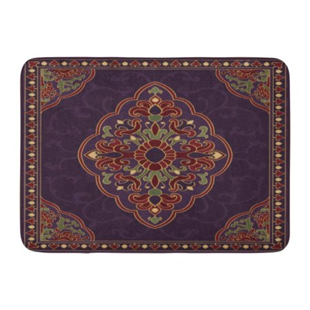 KDAGR Oriental Abstract Purple Coverlet Shawl and Any Ornamental Colorful Pattern Filigree Details Doormat Floor Rug Bath Mat 23.6x15.7 inch