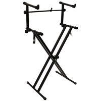 ChromaCast Double Braced Digital Piano Keyboard Stand and 2 Tier Adapter Bundle