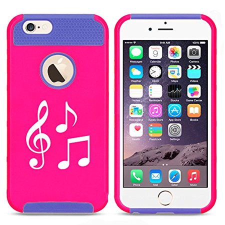 For Apple iPhone 7 Shockproof Impact Hard Soft Case Cover Music Notes (Hot Pink-Blue) - Music Note Hat