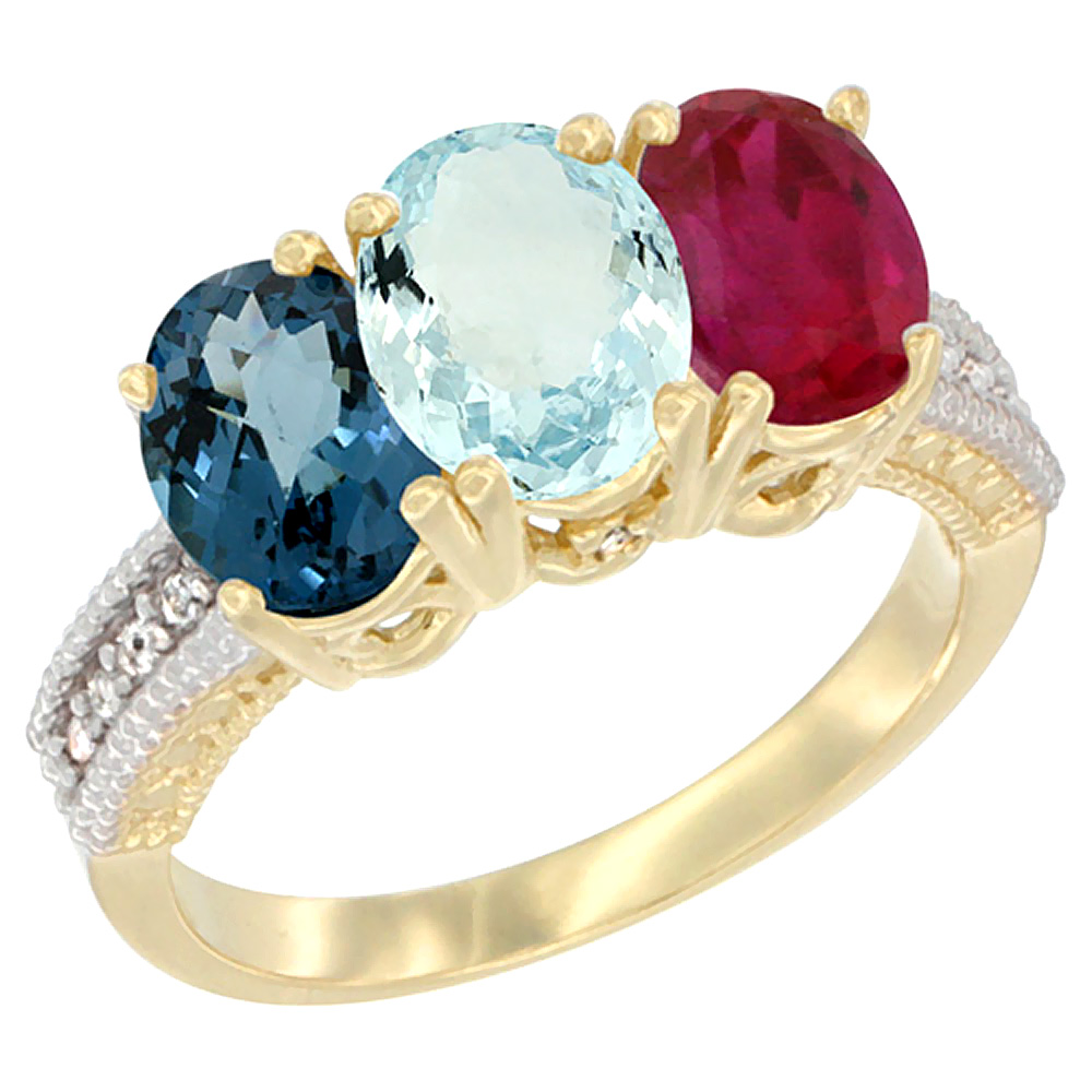 10K Yellow Gold Diamond Natural London Blue Topaz, Aquamarine & Ruby Ring 3-Stone Oval 7x5 mm, sizes 5 10 by WorldJewels
