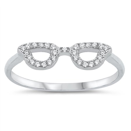 White CZ Eye Glasses Mask Disguise Ring New .925 Sterling Silver Band Size 8