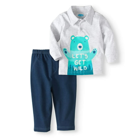 59932786b Bon Bebe - Baby Boy Long Sleeve Polo Shirt   Pants