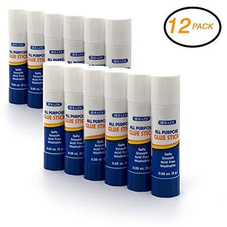 Emraw Premium Small Glue Stick 8 Grams (0.28 oz.) Safe Smooth Wrinkle Acid Free - Used on Photos, Papers, Envelops Etc. Good for Home, Office & School (12-Pack)