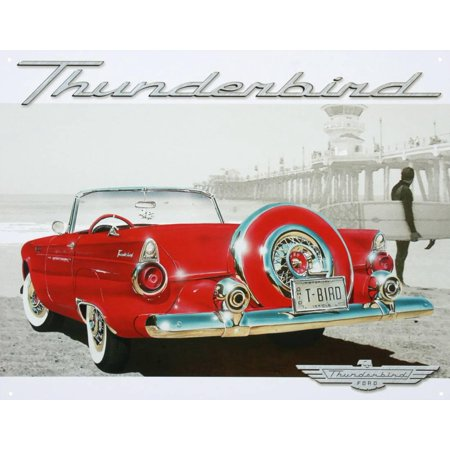 Scene Signs (Ford Thunderbird T-Bird Beach Scene Tin Sign -)